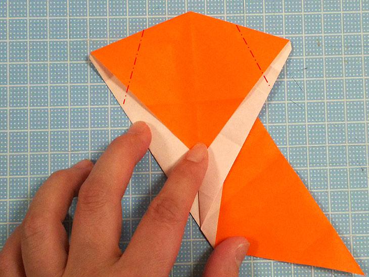 折り紙一枚で作るおすまし犬の折り方の工程4
