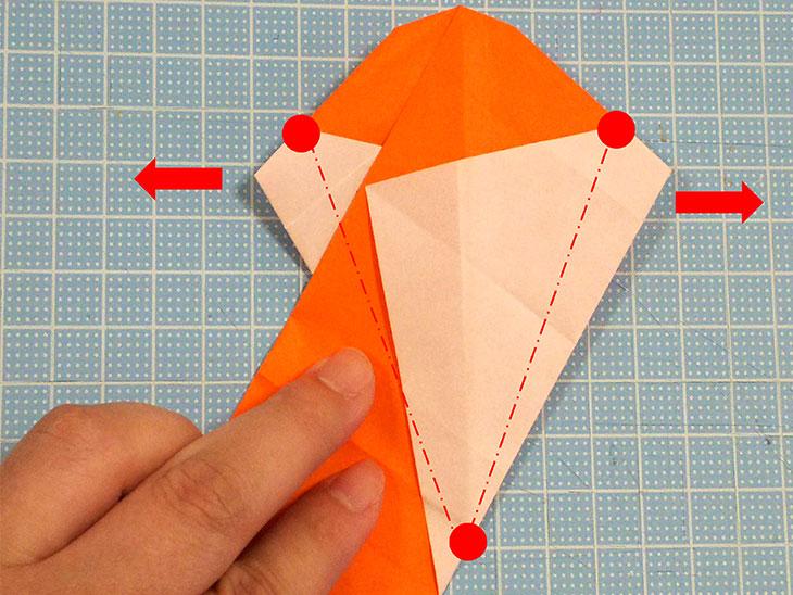 折り紙一枚で作るおすまし犬の折り方の工程5