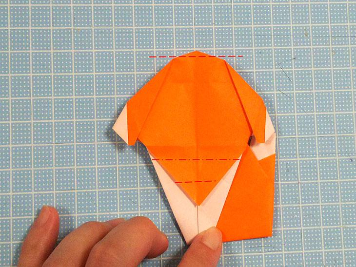 折り紙一枚で作るおすまし犬の折り方の工程8