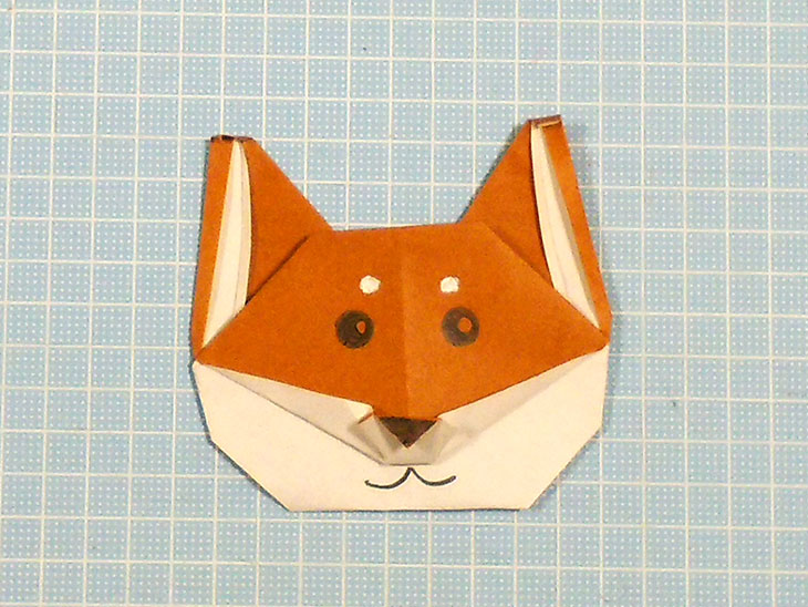 折り紙一枚で作る折り方で完成したリアルな柴犬の顔