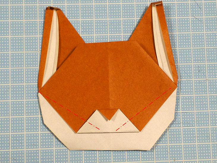 折り紙一枚で作るリアルな柴犬の折り方の工程5