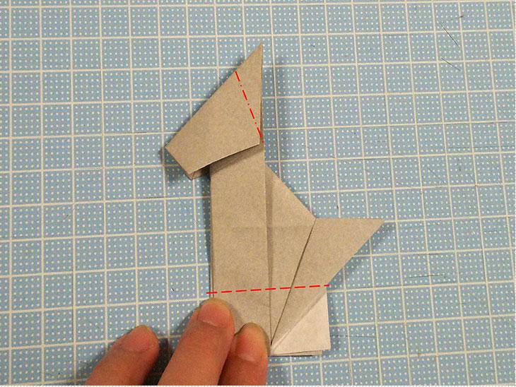 折り紙一枚で作る全身犬の立体ドーベルマンの折り方の工程6