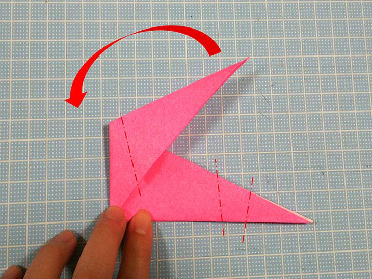 折り紙一枚で作る立体の全身テリアの折り方の工程4