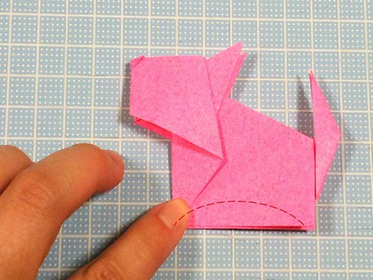 折り紙一枚で作る立体の全身テリアの折り方の工程6