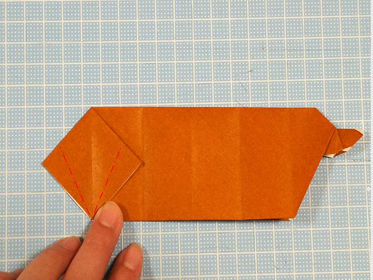 折り紙一枚で作る動くダックスフンドの折り方の工程4