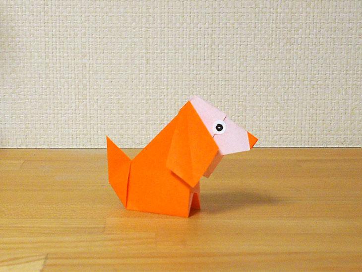 2枚で作る折り方で完成した折り紙の犬コッカースパニエル