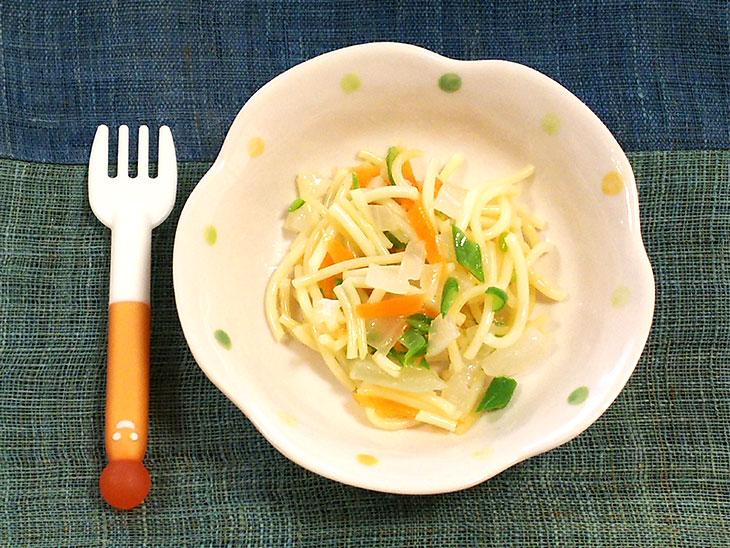 離乳食完了期レシピ「玉ねぎのそうめんチャンプルー」の完成品
