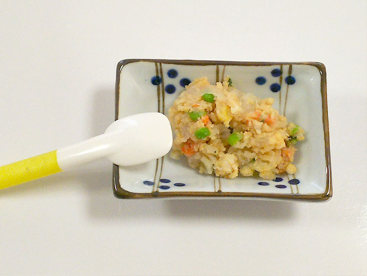 離乳食中期レシピ「きなこ風味ポテサラ」の完成品