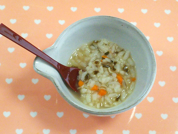 離乳食完了期レシピ「まいたけ雑炊」の完成品