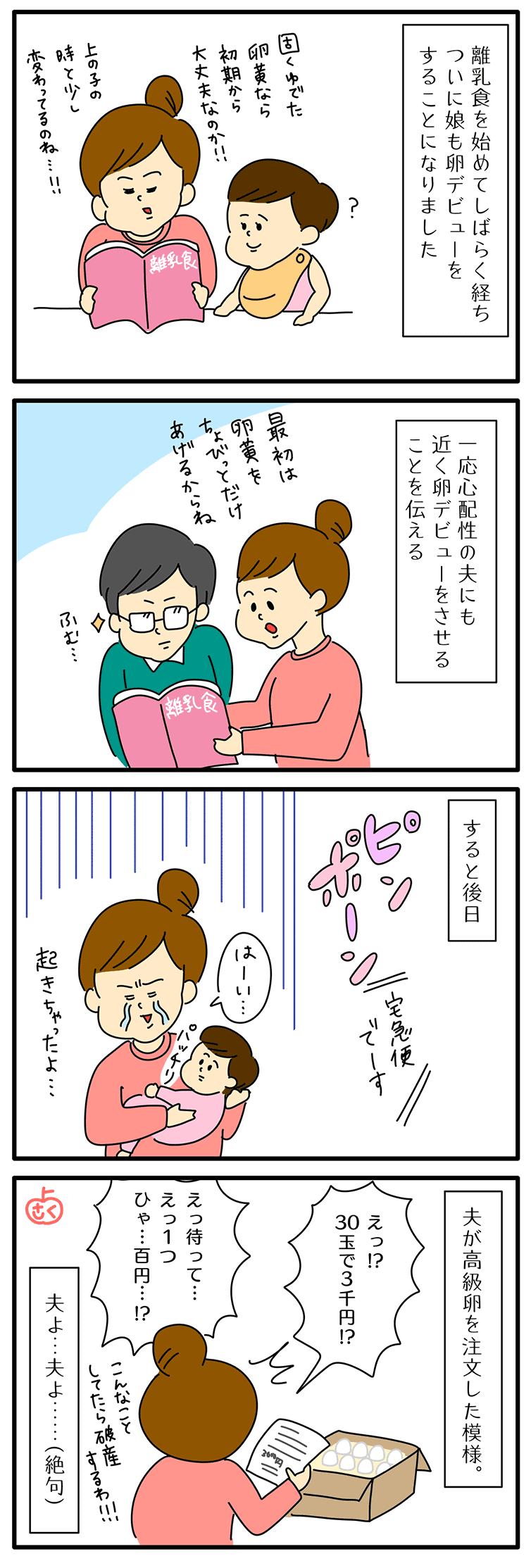 離乳食の卵についての永岡さくら(saku)子育て4コマ漫画