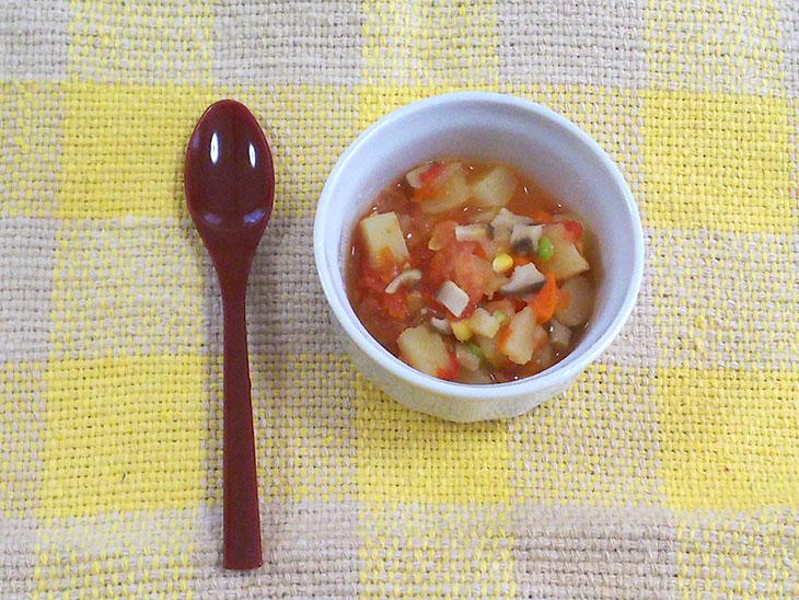 離乳食後期レシピ「エリンギ入りミネストローネ」の完成品