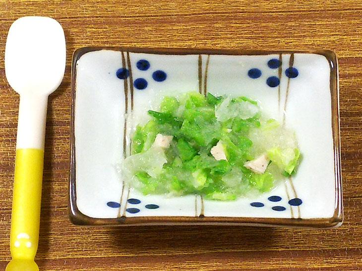 離乳食中期の大根おすすめレシピ「大根と白菜のみぞれ煮」の完成品