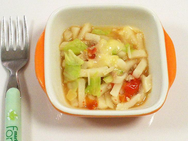 離乳食後期のおすすめチーズレシピ「洋風チーズうどん」の完成品