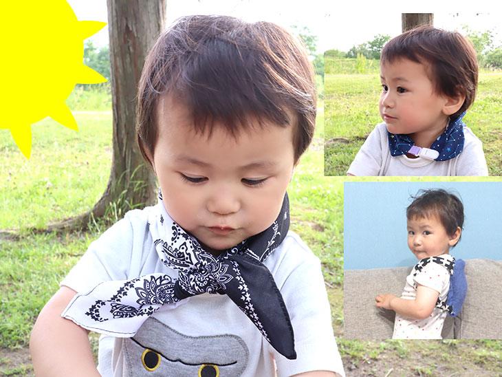 完成した赤ちゃんや幼児の手作りネッククーラー2種と保冷リュックを身に付ける幼児