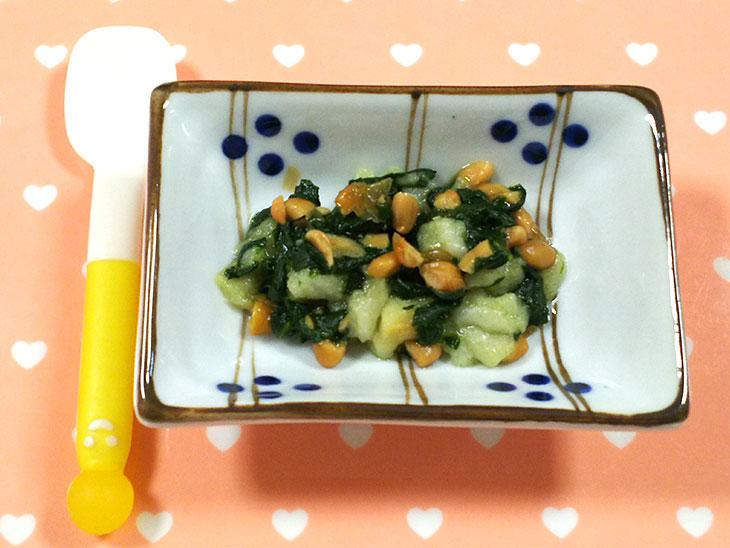 離乳食中期の納豆おすすめレシピ「納豆とお麩のだし煮」の完成品