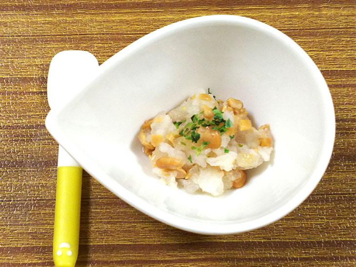 離乳食中期の納豆おすすめレシピ「納豆のみぞれ煮」の完成品