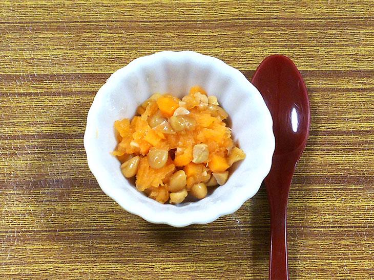 離乳食後期の人参おすすめレシピ「納豆と人参のもみじ和え」の完成品