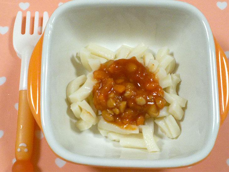 離乳食後期「納豆ミートソースうどんのレシピ」の完成品