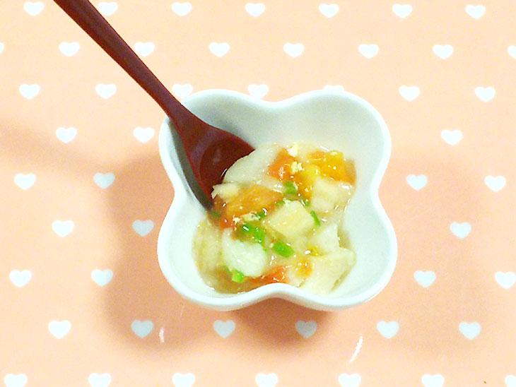 離乳食中期の麩おすすめレシピ「麩の和風ミネストローネ」の完成品