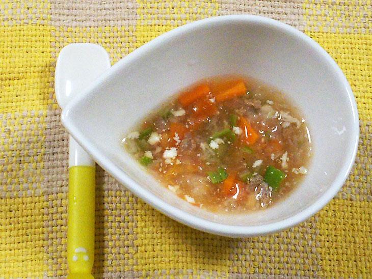 離乳食後期のオクラおすすめレシピ「オクラの夏野菜スープ」の完成品