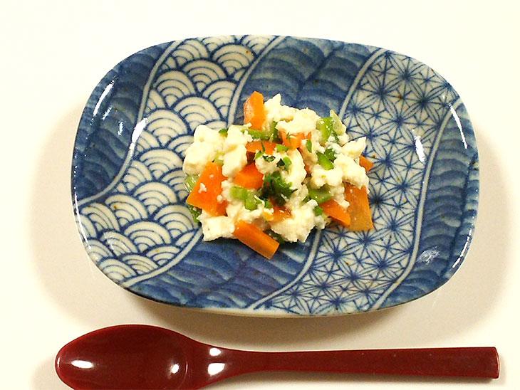 離乳食完了期のオクラおすすめレシピ「オクラと人参の白あえ」の完成品