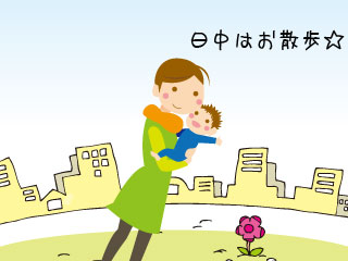 お母さんとお散歩中の赤ちゃん