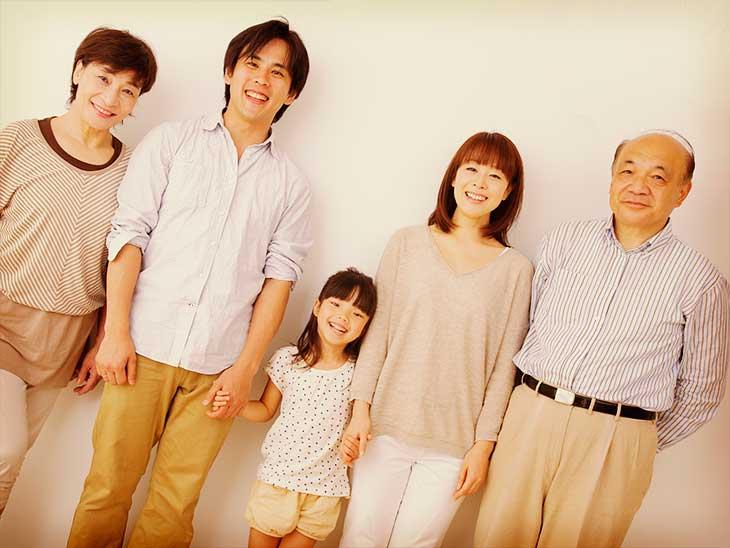 親子三世代の記念写真