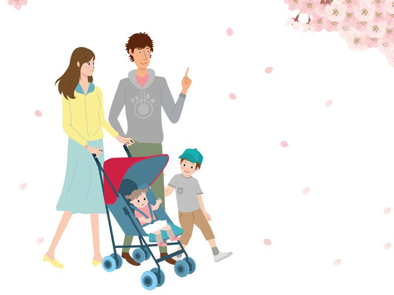 お散歩に出かける4人家族