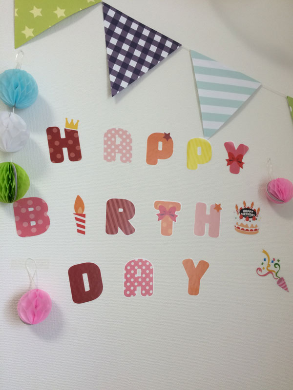 壁に貼り付けられたhappy birth dayの飾り