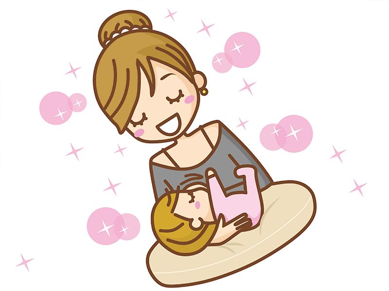 赤ちゃんに授乳しているママのイラスト
