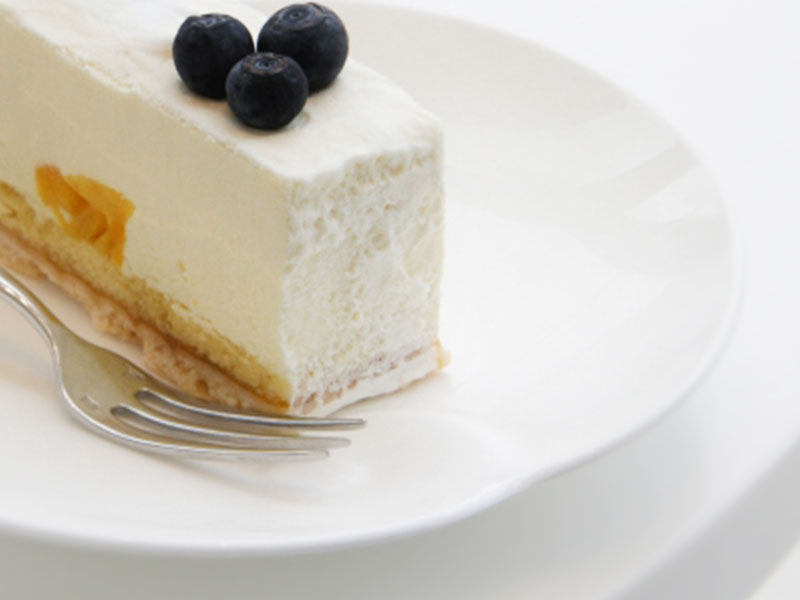 2つのブルーベリーをのせたレアチーズケーキとフォーク