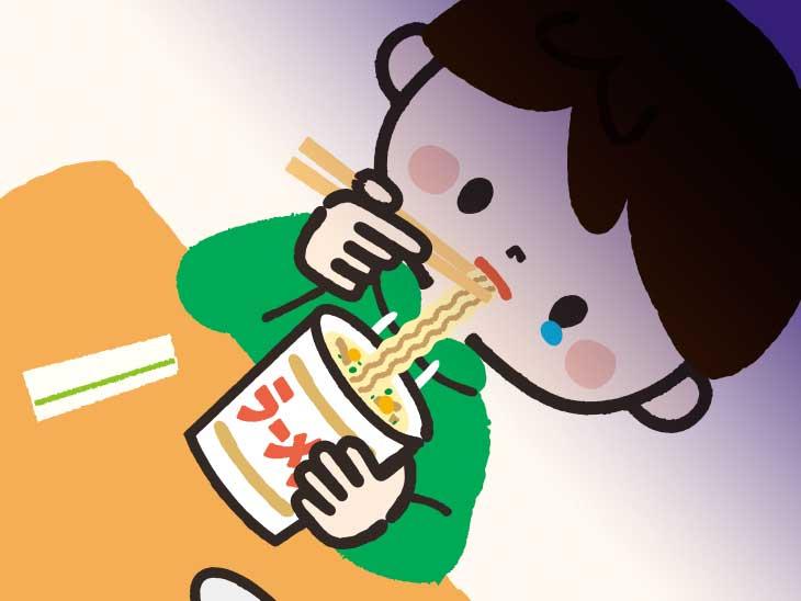 一人っきりでカップラーメンを食べている男の子のイラスト