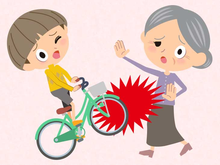 少年が乗ってる自転車に跳ねられてしまったおばあさんのイラスト