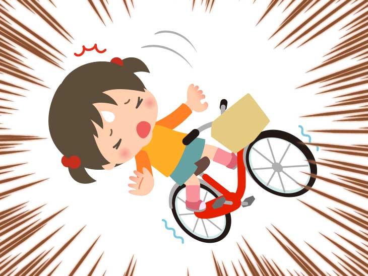 転びそうになってる自転車に乗ってる女の子のイラスト