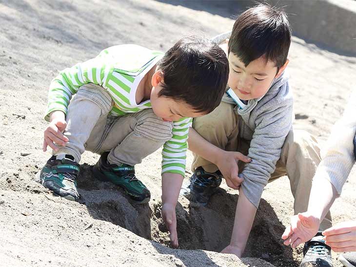 幼稚園の砂場で仲良く遊んでいる男の子たち