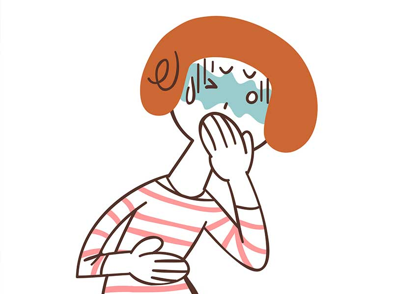 吐き気で口に手をあててる妊婦さんのイラスト