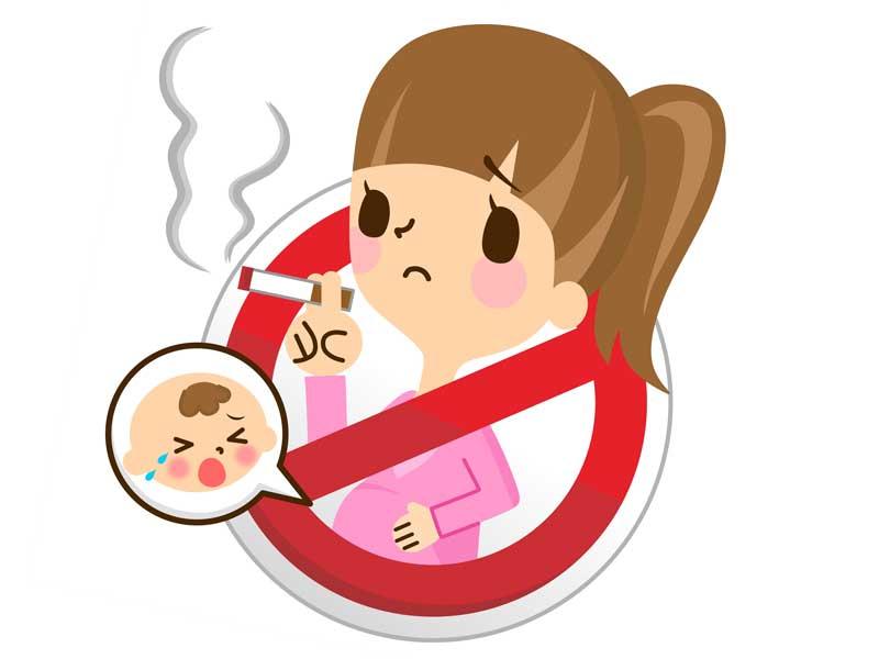 妊婦さんの禁煙を促すイラスト