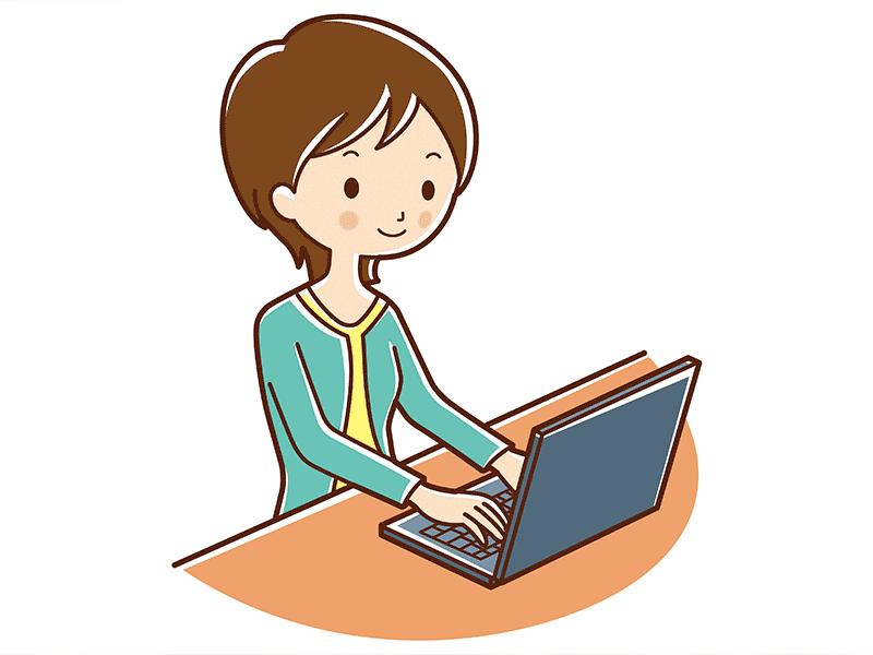 女性とノートパソコン(イラスト)