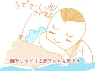 腕でしっかりと赤ちゃんを支える