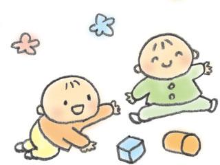 積み木で遊ぶ二人の子供
