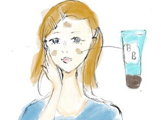 BBクリームを頬、鼻、おでこに塗る主婦