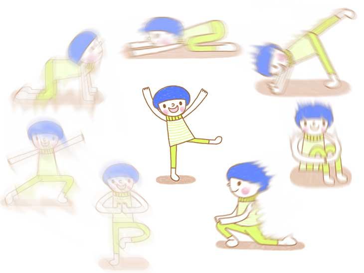 ヨガのポーズを連続でしている子供のイラスト