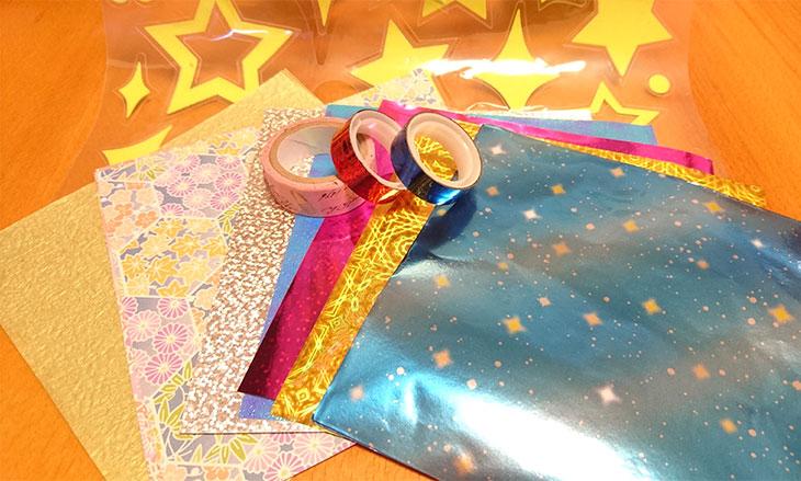 折り紙とホログラムシートとマスキングテープや蓄光シール
