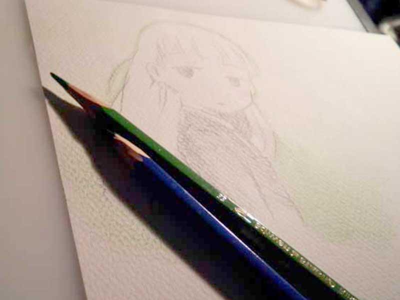 鉛筆で描いたマンガキャラクター