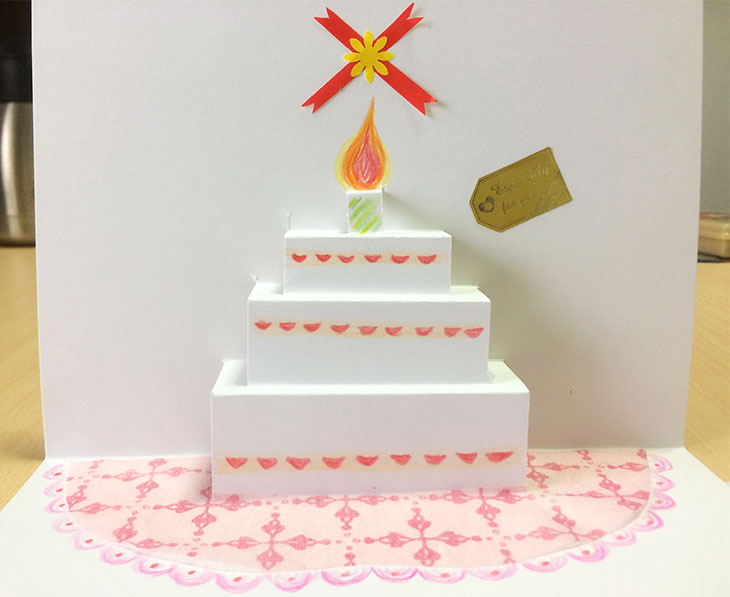 ケーキが飛び出す絵本の完成図