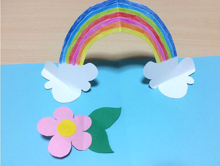 白い紙の虹の部分に色を塗って花などを装飾する