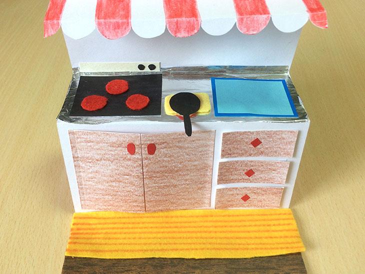 折った紙に色を塗ったり紙で作ったフライパンなどの装飾をつけた飛び出すキッチン絵本のベース
