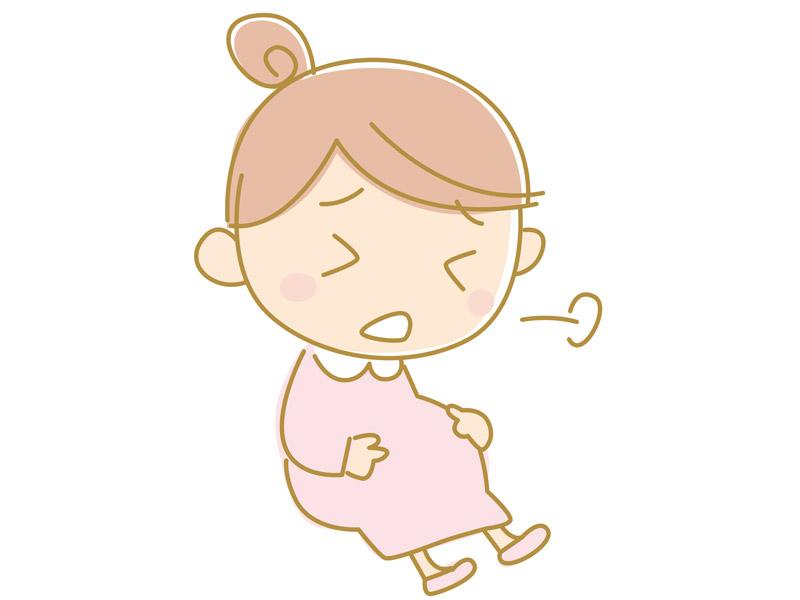 ため息をついて辛そうな妊婦さんのイラスト