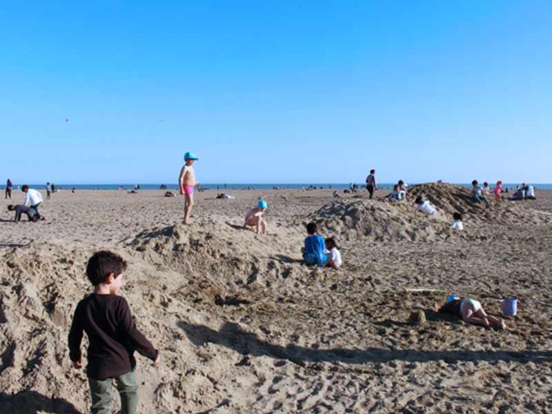 砂浜で遊ぶ子供達