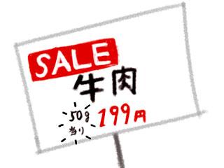 セール牛肉50g当たりの値札